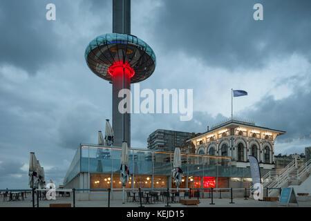 Evening at i360 tower on Brighton seafront, East Sussex, England. - Stock Photo