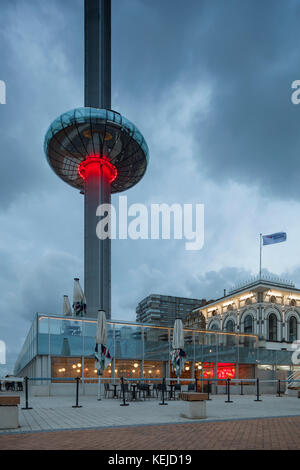 Night falls at i360 tower on Brighton seafront, East Sussex, England. - Stock Photo