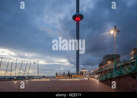 Evening on Brighton seafront, East Sussex, England. i360 tower in the distance. - Stock Photo