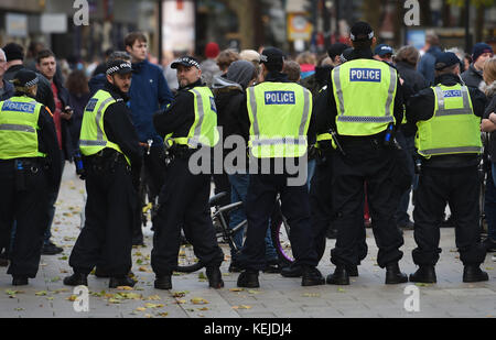 Police presence as the far right English Defence League (EDL) march Peterborough.