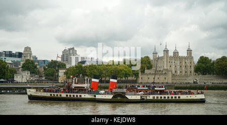 Paddle Steamer 'Waverley' arrives in The Pool of Lodon on a Day Cruise from Southend-1 - Stock Photo