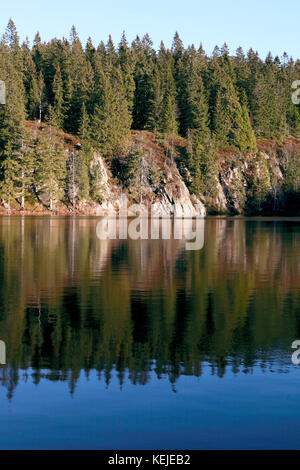Skjennungen, a lake in a forested area just north of Oslo, Norway, accessible by the metro and popular for hiking - Stock Photo