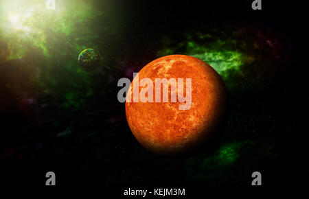 3D illustration the Mars shot from space showing all they beauty. Extremely detailed image, including elements furnished - Stock Photo