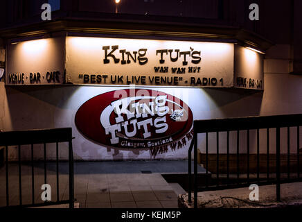 Exterior of King Tut's Wah Wah Hut Venue at Night. GLASGOW, SCOTLAND - Stock Photo