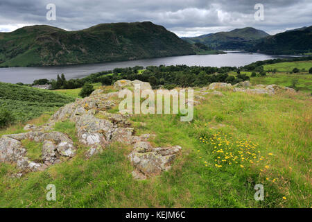 View over Ullswater lake from Gowbarrow fell, Lake District National Park, Cumbria, England, UK - Stock Photo