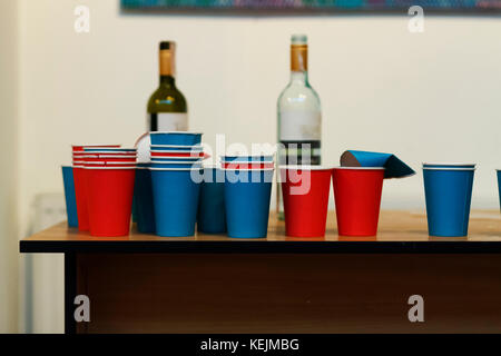 A lot of colorful Glasses and wine in bottles. Buffet table. - Stock Photo