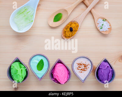 Alternative skin care and homemade scrubs lavender scrubs ,strawberry scrubs ,avocado scrubs and almond scrubs with - Stock Photo