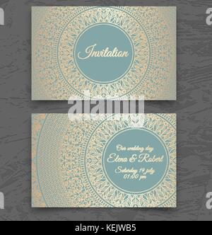 Vintage wedding invitation or business card templates. Cover design with gold mandala ornaments. Vector traditional - Stock Photo