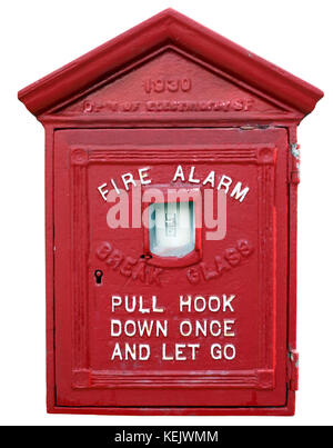 Isolated vintage San Francisco fire alarm box. - Stock Photo