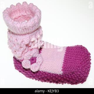 Mädchen Baby Socken, Strümpfe, gestrickt in Pink, Rosa - Stock Photo