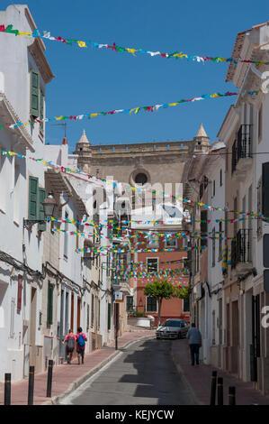 Street scene in Alaior, Menorca, Balearic Islands, Spain - Stock Photo