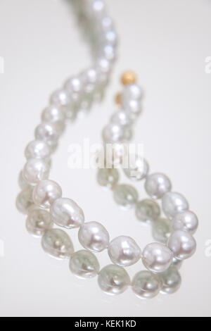 Light grey pearl necklace - Stock Photo