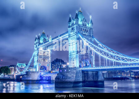 London, the United Kingdom: Tower Bridge on River Thames - Stock Photo