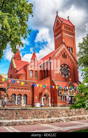 Minsk, Belarus: catholic Church of Saints Simon and Helen in the Independence Square - Stock Photo