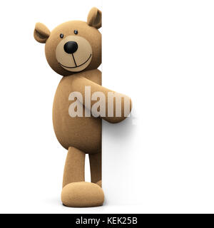 Teddy bear pointing on blank banner background with copy space isolated on white background 3D rendering - Stock Photo