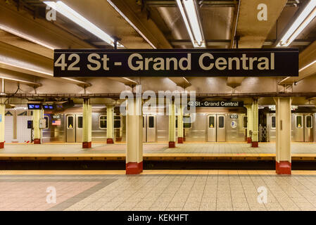 New York City - October 14, 2017: 42 St - Grand Central Subway Station in New York City. - Stock Photo