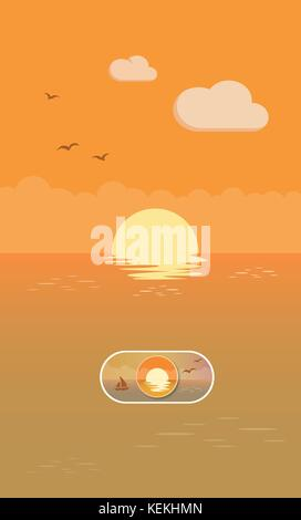 Sunset landscape illustration On and Off toggle switch button - Stock Photo