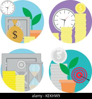 Financial investments and savings icons set. Vector investment finance, financial planning and financial security, - Stock Photo