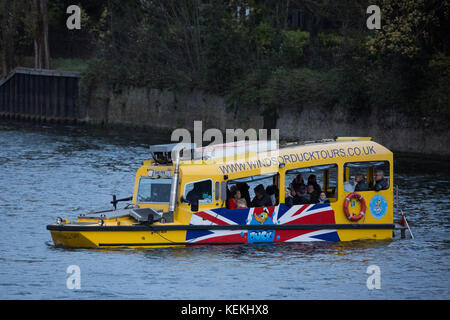 Windsor, UK. 21st October, 2017. Windsor Duck Tours' purpose-built SeaHorse 'duck' boat based on a historical DUKW - Stock Photo