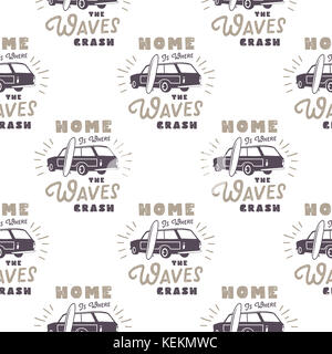 Surfing old style car pattern design. Summer seamless wallpaper with surfer van, surfboards, sunbursts. Monochrome combi car. illustration. Use for fabric printing, web projects, t-shirts.