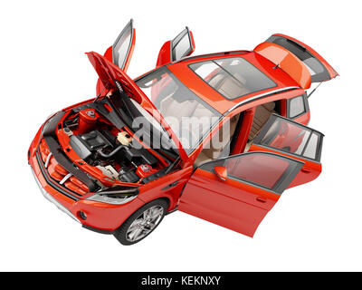 Red Suv car with all doors opened. Included the hood revealing engine and details. Perspective view from above. - Stock Photo