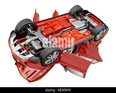 Red Suv car with all doors opened, bottom view. - Stock Photo