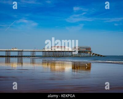 View of Cromer beach showing the famous pier, Norfolk, England, - Stock Photo