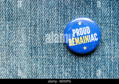 A Proud Remainiac anti-Brexit badge. - Stock Photo