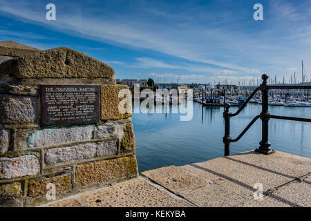 Plaque to the Tolpuddle Martyrs on the quayside at Sutton Harbour, Barbican, Plymouth, Devon, UK - Stock Photo