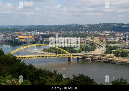 Fort Pitt Bridge, Pittsburgh, Pennsylvania, United States - Stock Photo