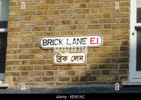Brick Lane sign, London, England - Stock Photo
