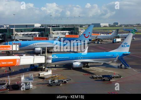 KLM aircraft on the runway awaiting departure at Amsterdam Schiphol Airport. - Stock Photo