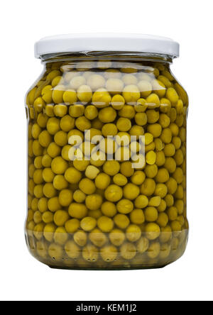Glass jar of preserved peas isolated on white background - Stock Photo