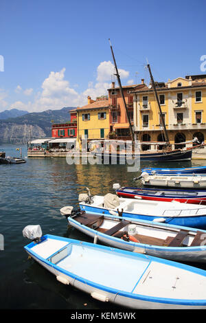 Malcesine, on Lake Garda, in the Lombardy region, in north Italy - Stock Photo