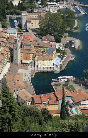 Aerial view of Riva del Garda, on Lake's Garda's shores, in northern Italy, Europe - Stock Photo
