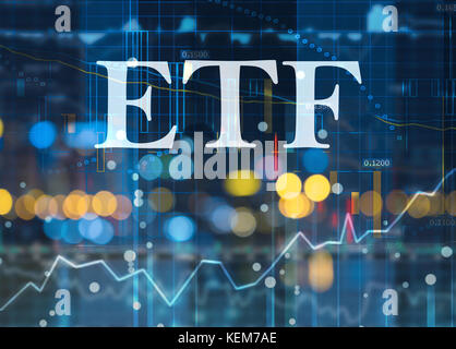 etf, exchange traded funds, passive investment in index funds on capital markets - Stock Photo