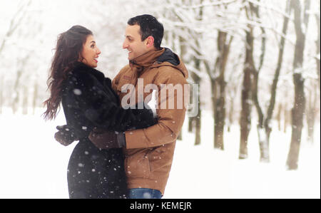 A young loving couple on a walk - Stock Photo