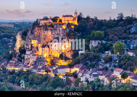 Twilight at the medieval town of Rocamadour, in the Dordogne Valley, Midi-Pyrenees, France. - Stock Photo