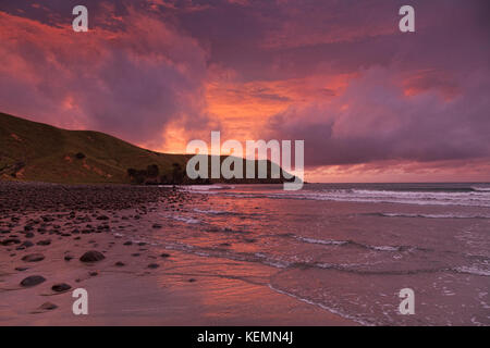 The bay at Port Jackson, Coromandel, New Zealand, at sunset, - Stock Photo
