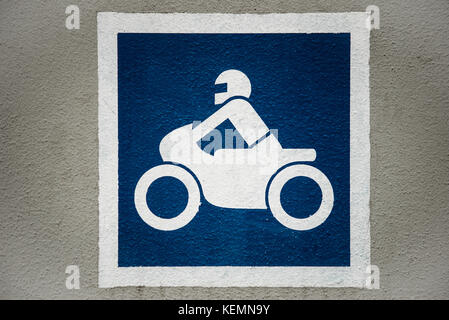 Parking spot sign for motorcycles - Stock Photo