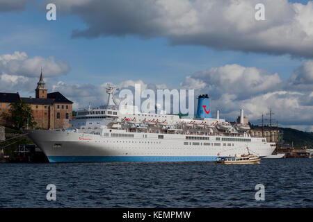 Cruise ship in Oslo Harbour, Norway - Stock Photo
