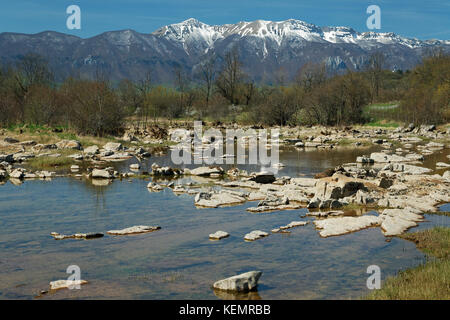 The intermittent river Suvaja, in Lika and Velebit, in early spring - Stock Photo