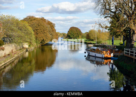 River Thames at Abingdon-on-Thames, Oxfordshire Viewed from Abingdon Bridge - Stock Photo