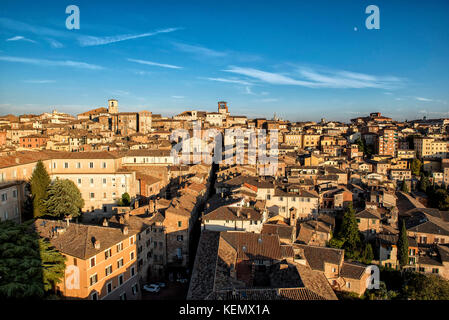 Perugia, Umbria, Italy. Beautiful panorama and skyline of historical centre from Sciri's Tower, the the highest - Stock Photo