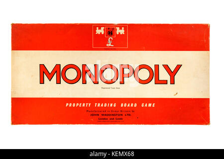 Vintage 1970's version of the popular Monopoly property trading board game by John Waddington Ltd - Stock Photo
