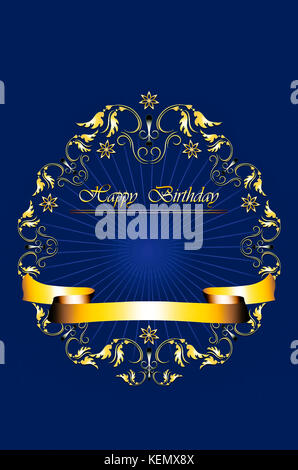 Card with gold frame of leaves with stars and Happy Birthday on radiant blue background - Stock Photo