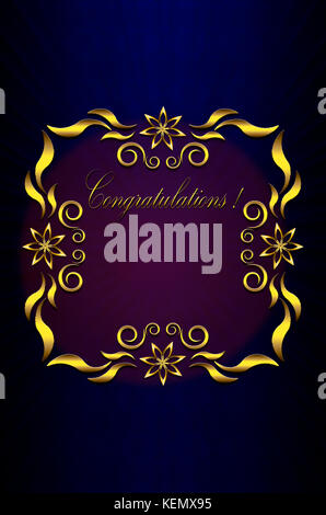 Card with gold frame of leaves with stars and Congratulations with red light on blue background - Stock Photo