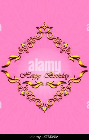 Card with gold frame of leaves with stars and ribbon on radiant pink background - Stock Photo