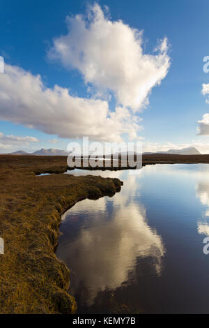 Loch nam Meur Liath with Ben Loyal and Ben Hope in distance, Sutherland - Stock Photo