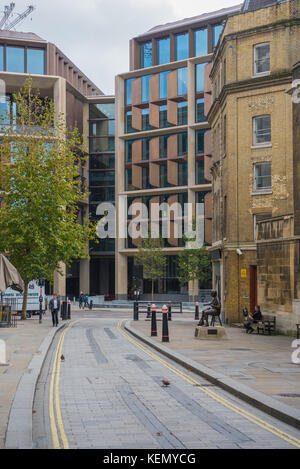 Bloomberg European headquarters in the City of London, as seen from Watling Street. - Stock Photo